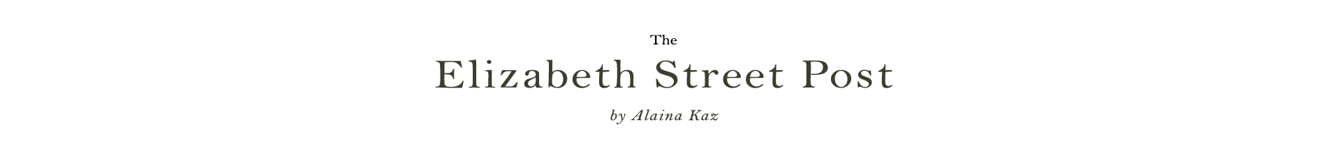The Elizabeth Street Post: A Lifestyle Blog by Alaina Kaz -