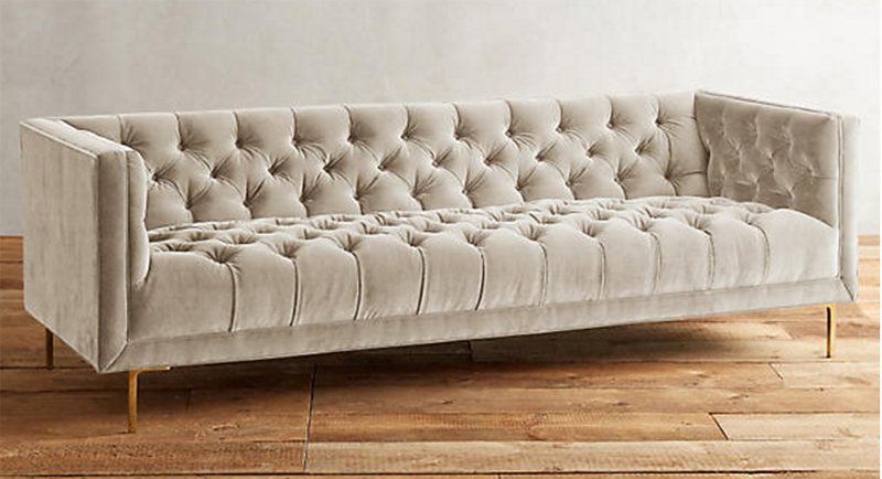 Velvet Caster Leg Bench Cushion Sofa U2026