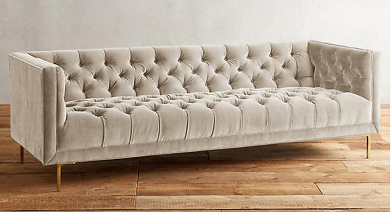 Velvet Caster Leg Bench Cushion Sofa